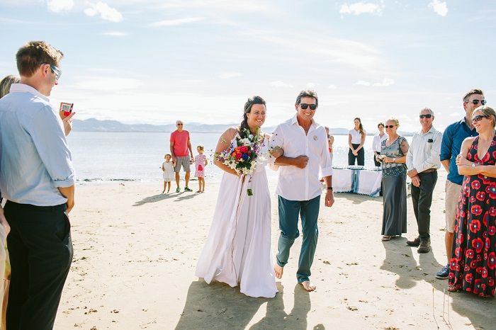 Barefoot Beach bride and her custom made wedding dress | itakeyou.co.uk #beachwedding