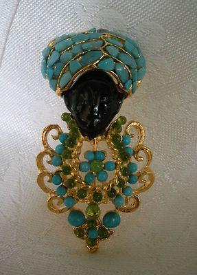 Swoboda King Blackamoor Pin Gem Stones Turquoise Peridot WOW | eBay