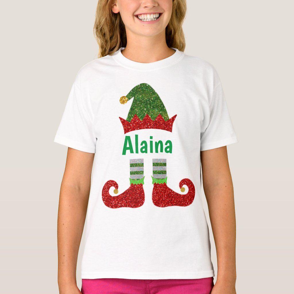 Holiday Shirt Custom Elf T-Shirt Personalized Elf Shirt Christmas Shirt With Name Kids Holiday. Kids Christmas