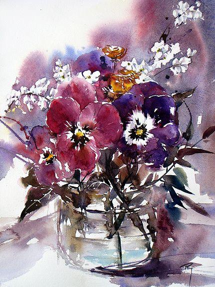 Pensees Du Jour Auteur Rey Catherine Peinture Fleurs
