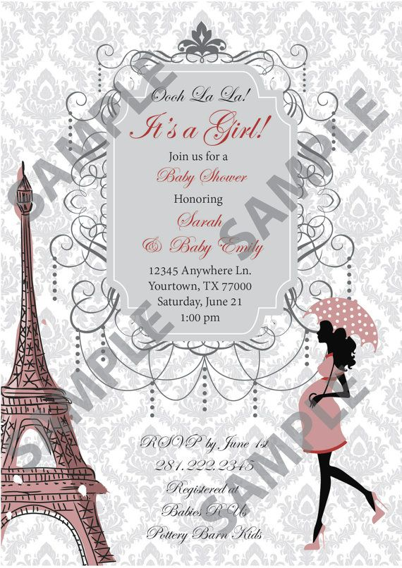 Paris Themed Baby Shower Invitation Can Be Customized With Your Details And Colors By Swaddleitbe On Etsy 35 00