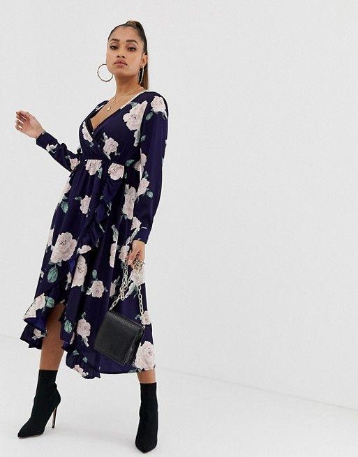 another chance best price select for official Boohoo Petite wrap midi dress in navy floral in 2019 ...