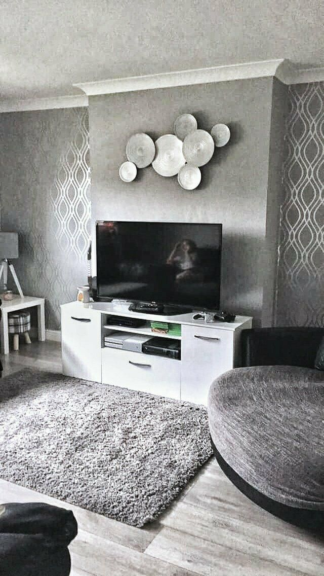 Henderson Interiors Camden Wave Wallpaper Soft Grey Silver H980526 The Pe Feature Wall Living Room Feature Wall Living Room Wallpaper Feature Wall Bedroom