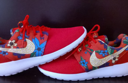 841c3bc1a54c7 womens nike free roshe shoes print flowers red color run athletic sneakers  custom with crystal swarovski