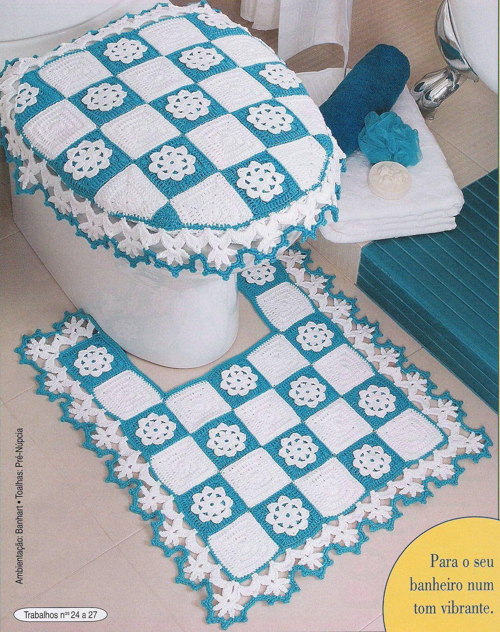 placard en tricot set tapis échantillons salle de bain ensemble modèles crochet   – dantel