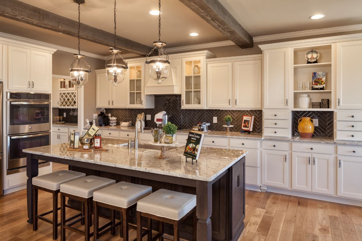 Chefs Kitchen Landen Maple Painted Antique White Perimeter Cabinets Flagstone Island Greenshire Commons Model