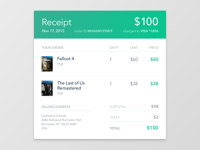 017 Email Receipt Invoice Design Email Design Email Templates