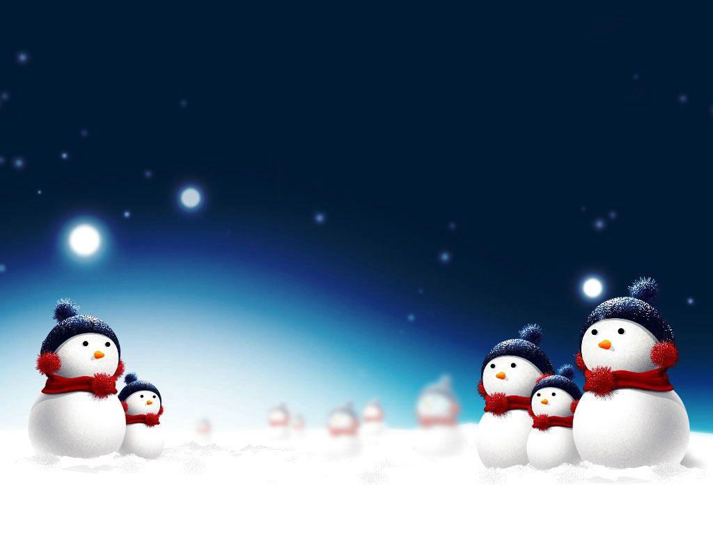 Snowmen At Night Snowman Wallpaper Christmas Scenery Christmas Screen Savers