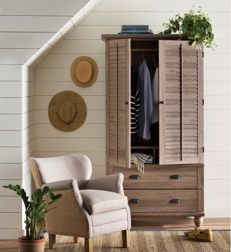 Wooden Armoire Wardrobe Freestanding Closet Clothing TV Storage Drawers  Louver