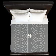 Stylish Retro Style Grey White Pattern King Duvet, #grey #pattern