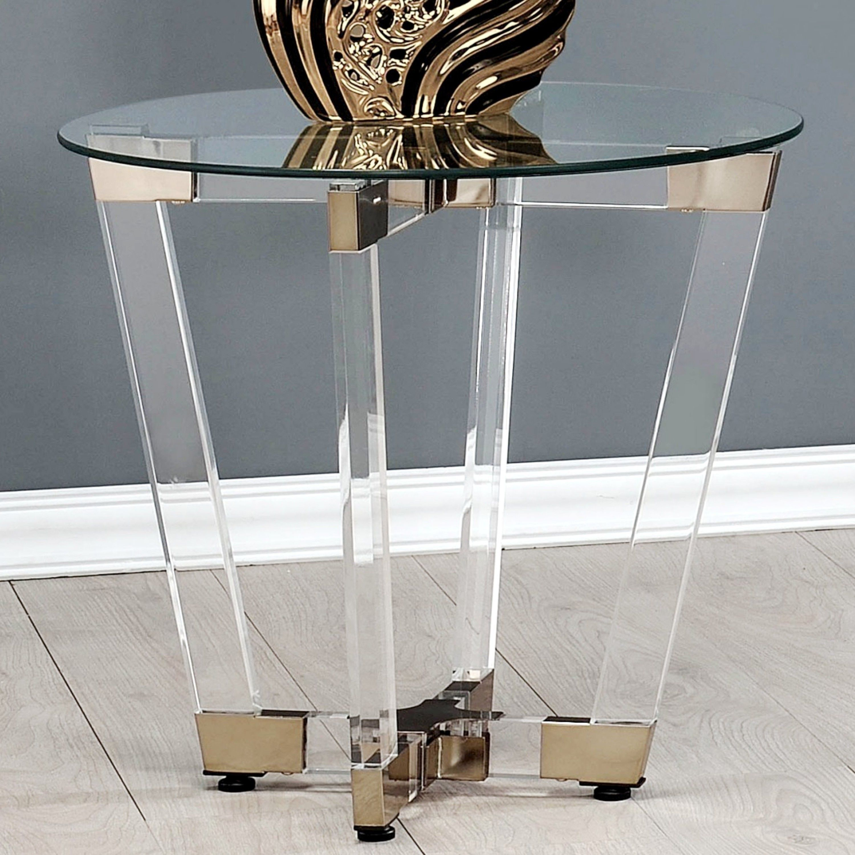 Modern Glam Design Acrylic Interlocking Base Accent Table ...