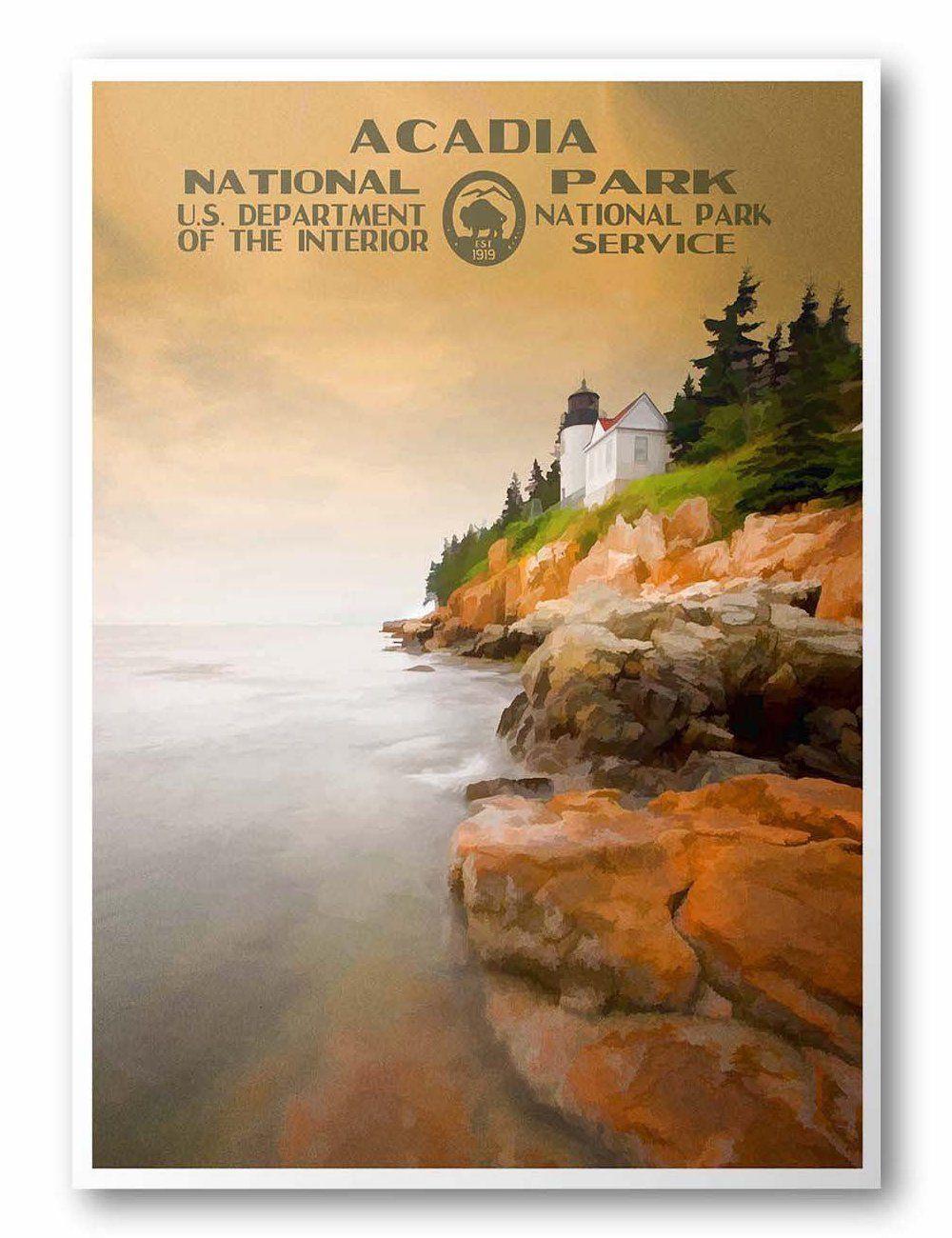 Acadia National Park Poster National Park Posters Acadia National Park National Parks