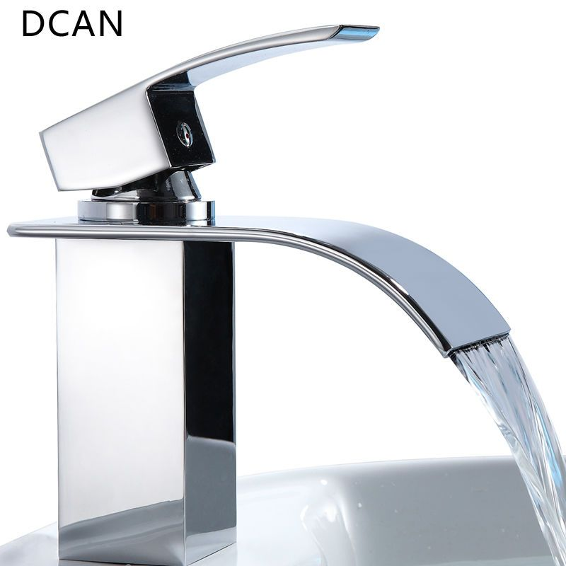DCAN Bathroom Sink Faucets Waterfall Sink Faucet Chrome Single ...