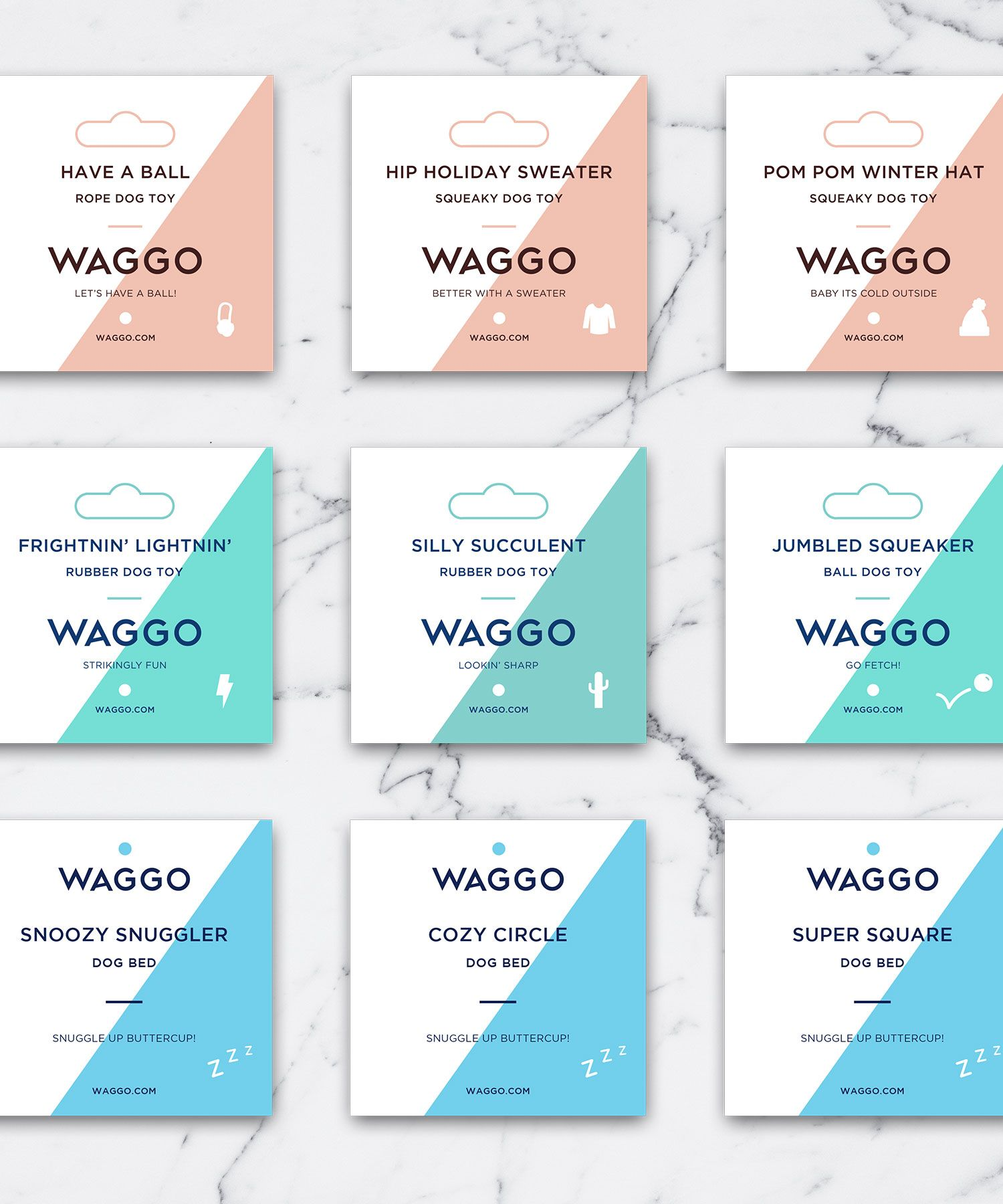 Waggo product tags design by substrate creative substrate