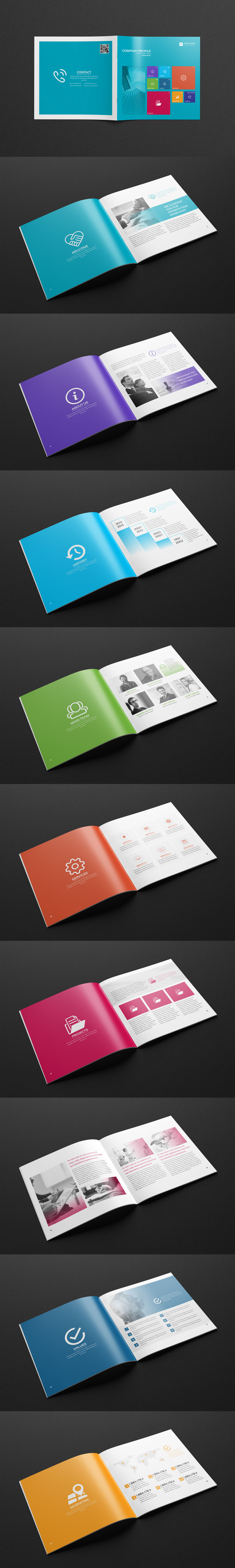Company Profile Square Brochure Template InDesign INDD - 20 Pages ...