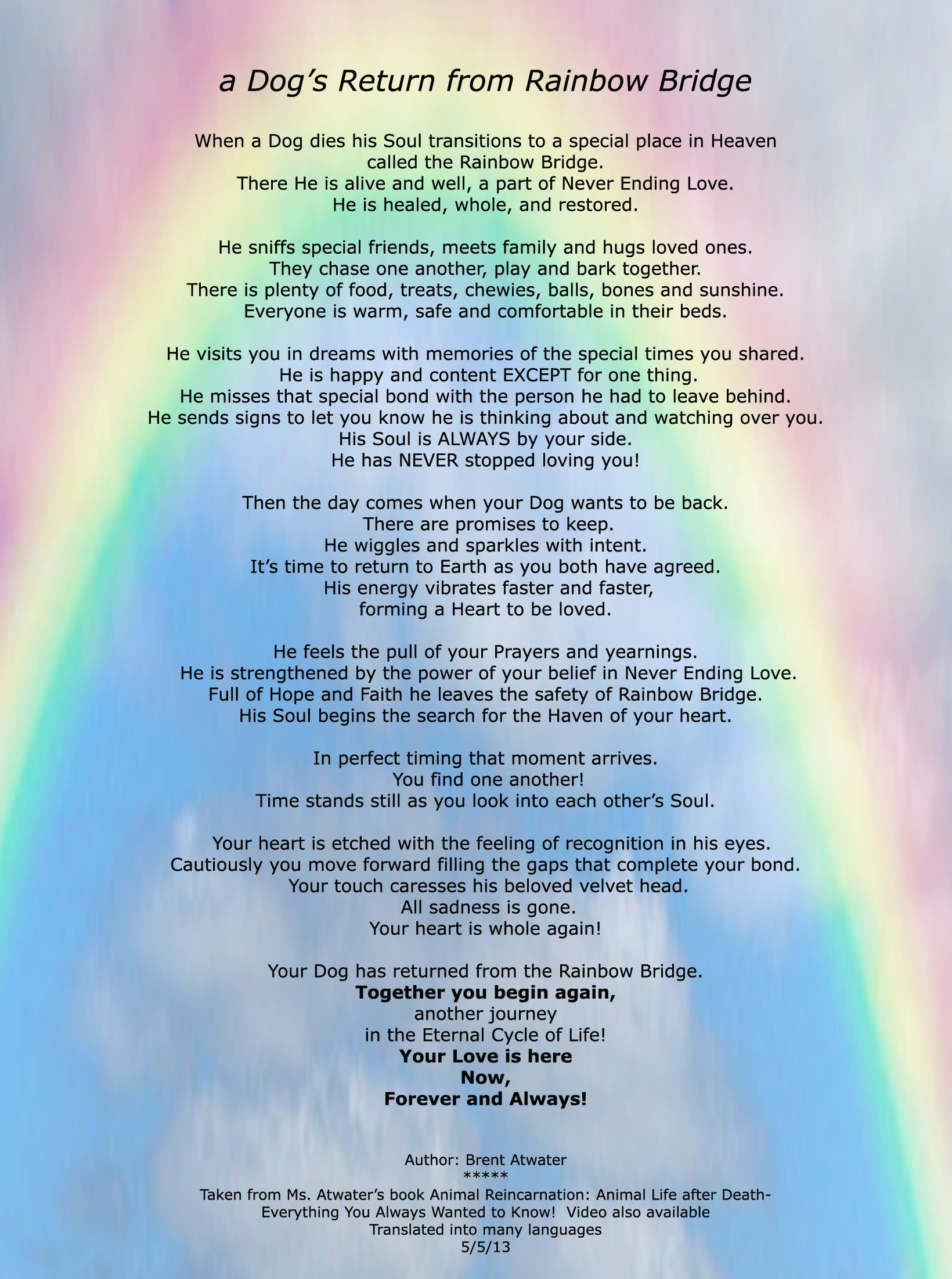 Rainbow Bridge Dog Dog Rainbow Bridge Poem Re A Dog S Purpose