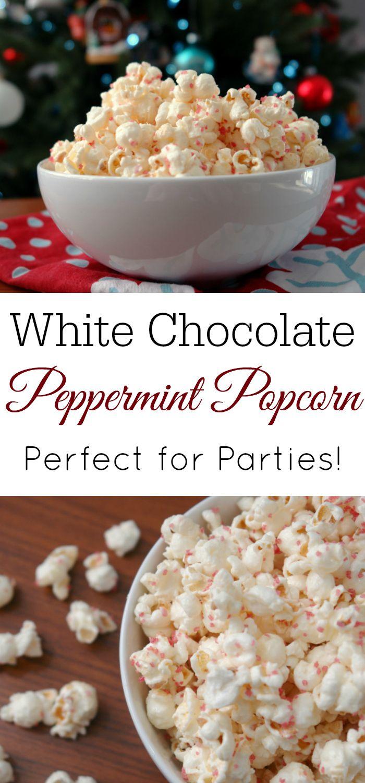 white chocolate peppermint popcorn recipe pinterest easy christmas treats christmas desserts and popcorn - Easy Christmas Desserts Pinterest