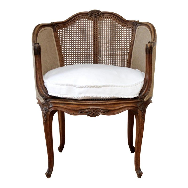 Louis Xv Style French Vanity Chair With Cane And Linen Slip Cover French Vanity Upholstered Chairs Slipcovers