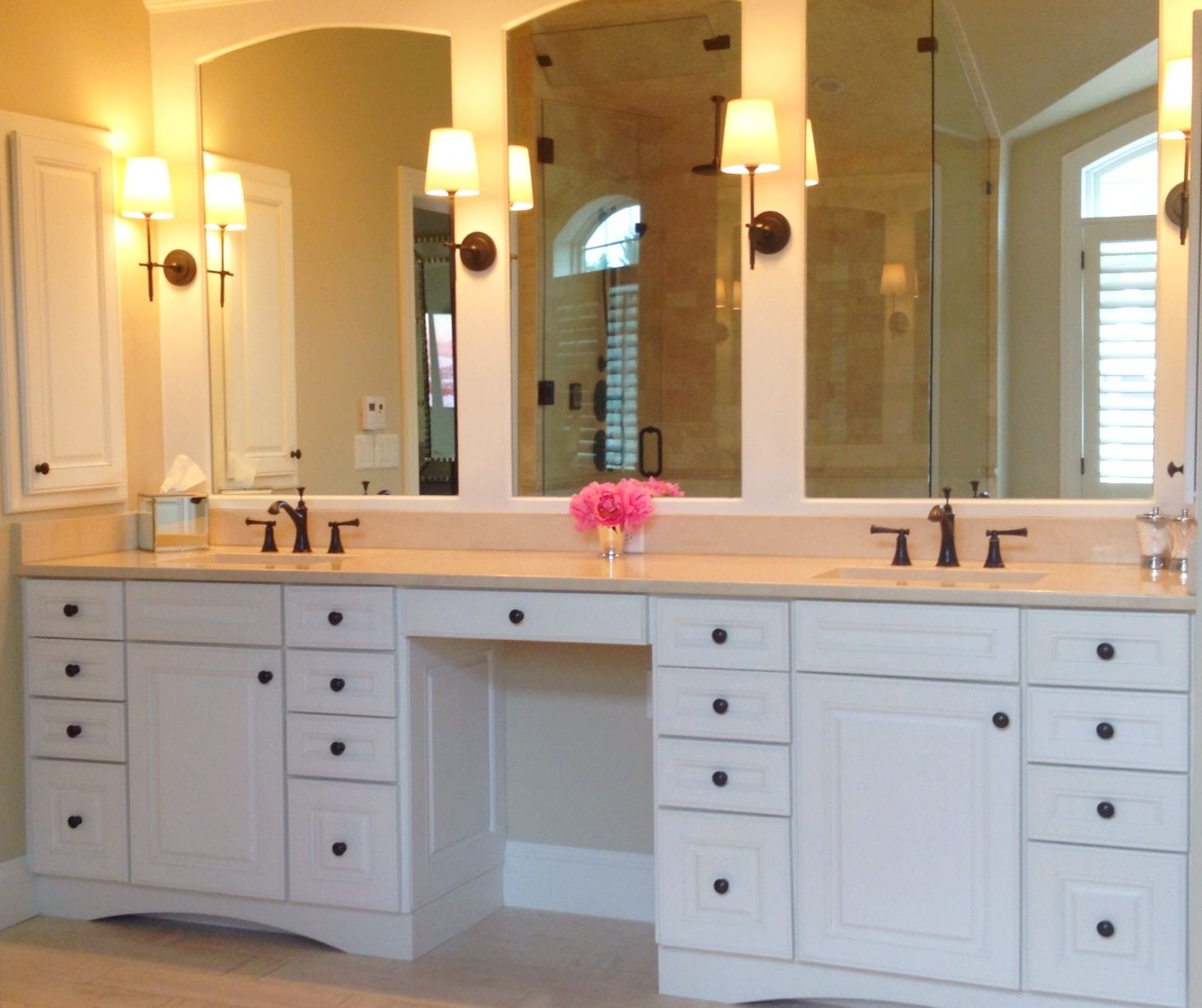 Lj Designs Master Bath Vanity Framed Mirror Arched Mirror Detail Double Vanity Knee Space Master Bath Vanity Bathroom Sink Design Double Vanity Bathroom