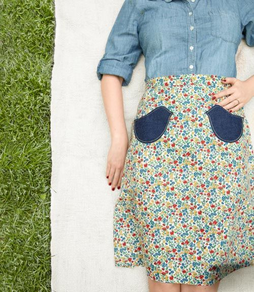 Give an old skirt a fly new look with a pair of denim patches. #crafts (Get our free template here: http://www.countryliving.com/crafts/projects/sewing-crafts-0109)