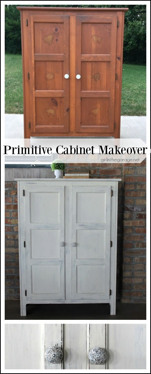 Primitive storage cabinet makeover with chalk paint and lightly