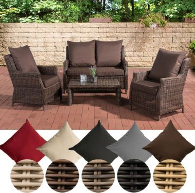 Poly Rattan Lounge-Set MONTERO, Alu Gestell, 2 Sessel + 2er Sofa + - outdoor sessel polyrattan
