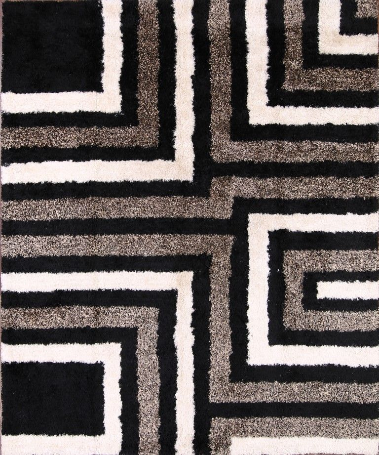 Geometric Soft Plush Black White Silver 5x8 Shaggy Oriental Area
