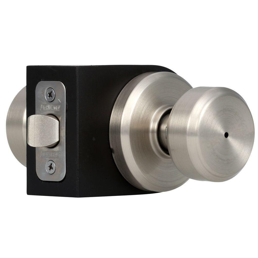 schlage bowery satin nickel privacy door knob with greyson trim