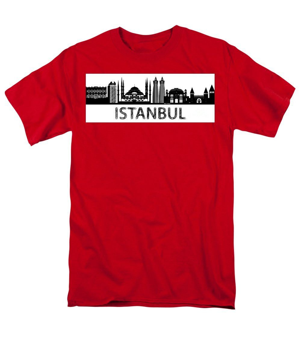 Men's T-Shirt (Regular Fit) - Istanbul Silhouette Sketch In Black And White
