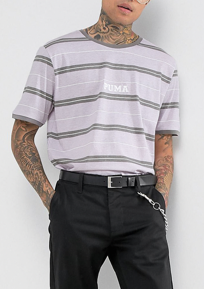 Puma Retro Stripe T Shirt In Purple Exclusive to ASOS from