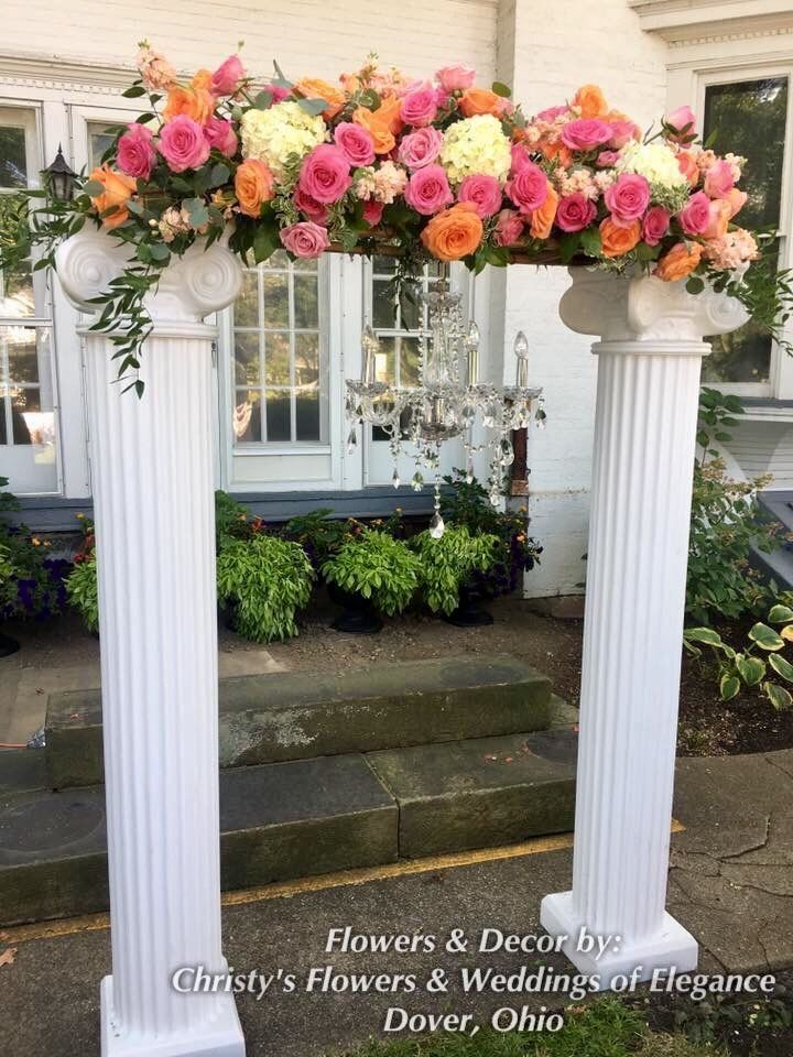 Wedding Ceremony Arch created with white Roman Columns, Crystal ...
