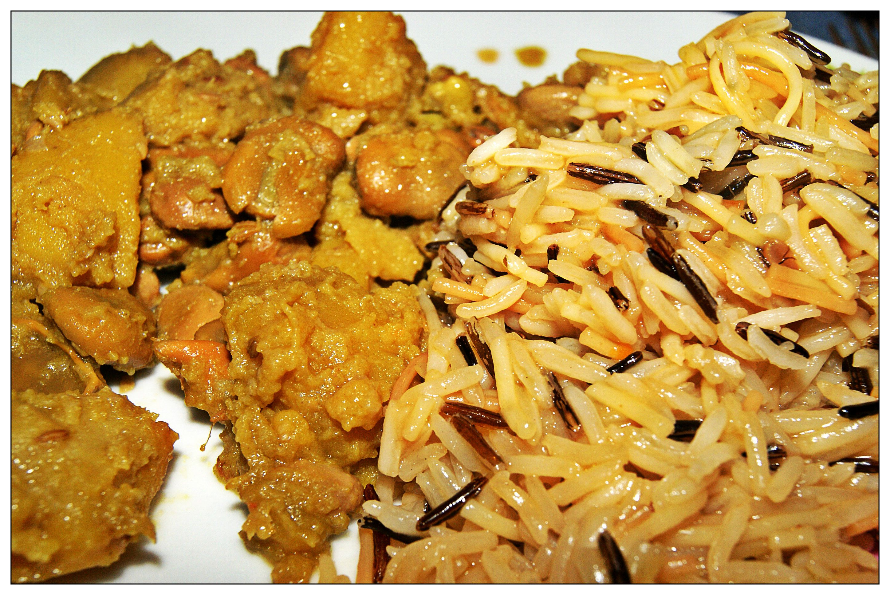 Potatoes and beans with oriental pilaf rice - patate e fave all'orientale con riso pilav