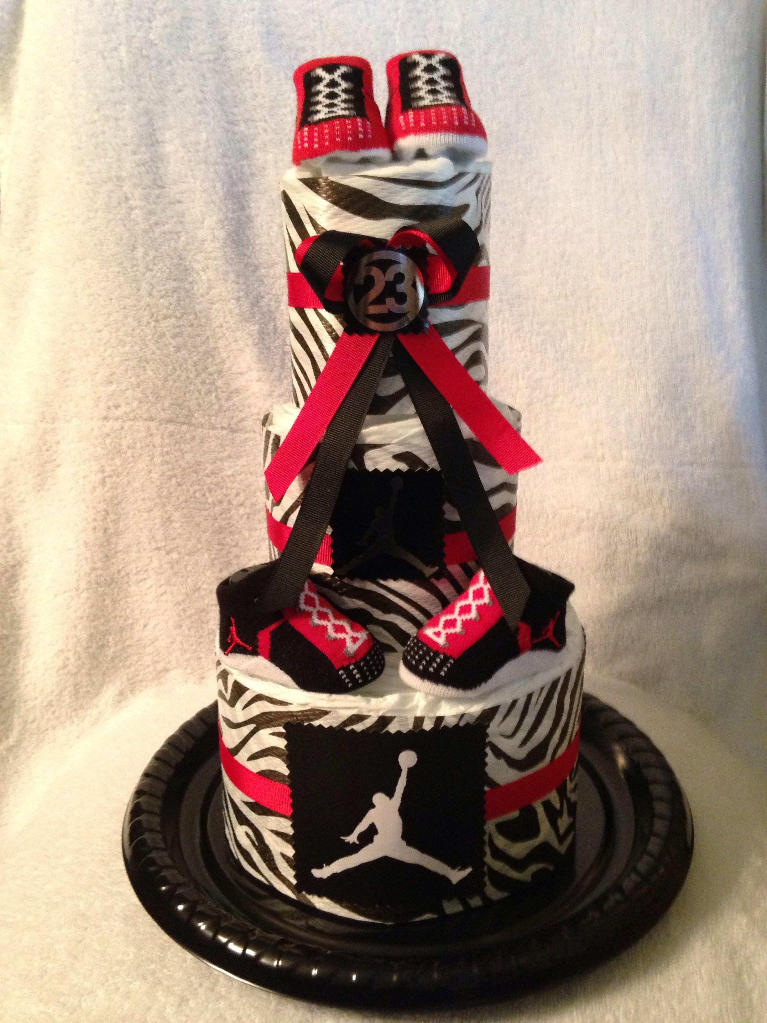 Michael Jordan inspired Zebra print diaper cake Michael Jordan