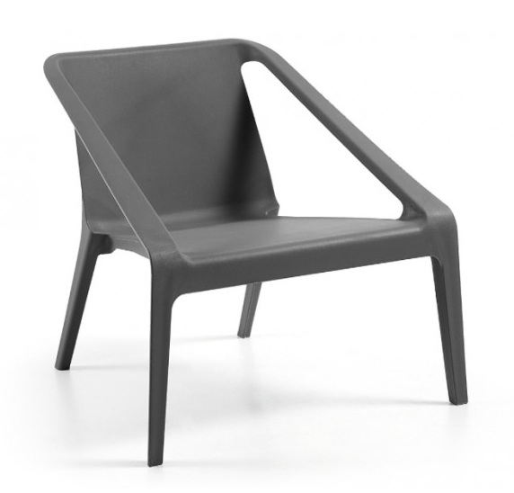 Silla monobloc con reposabrazos en plástico gris tanto para uso interior como exterior