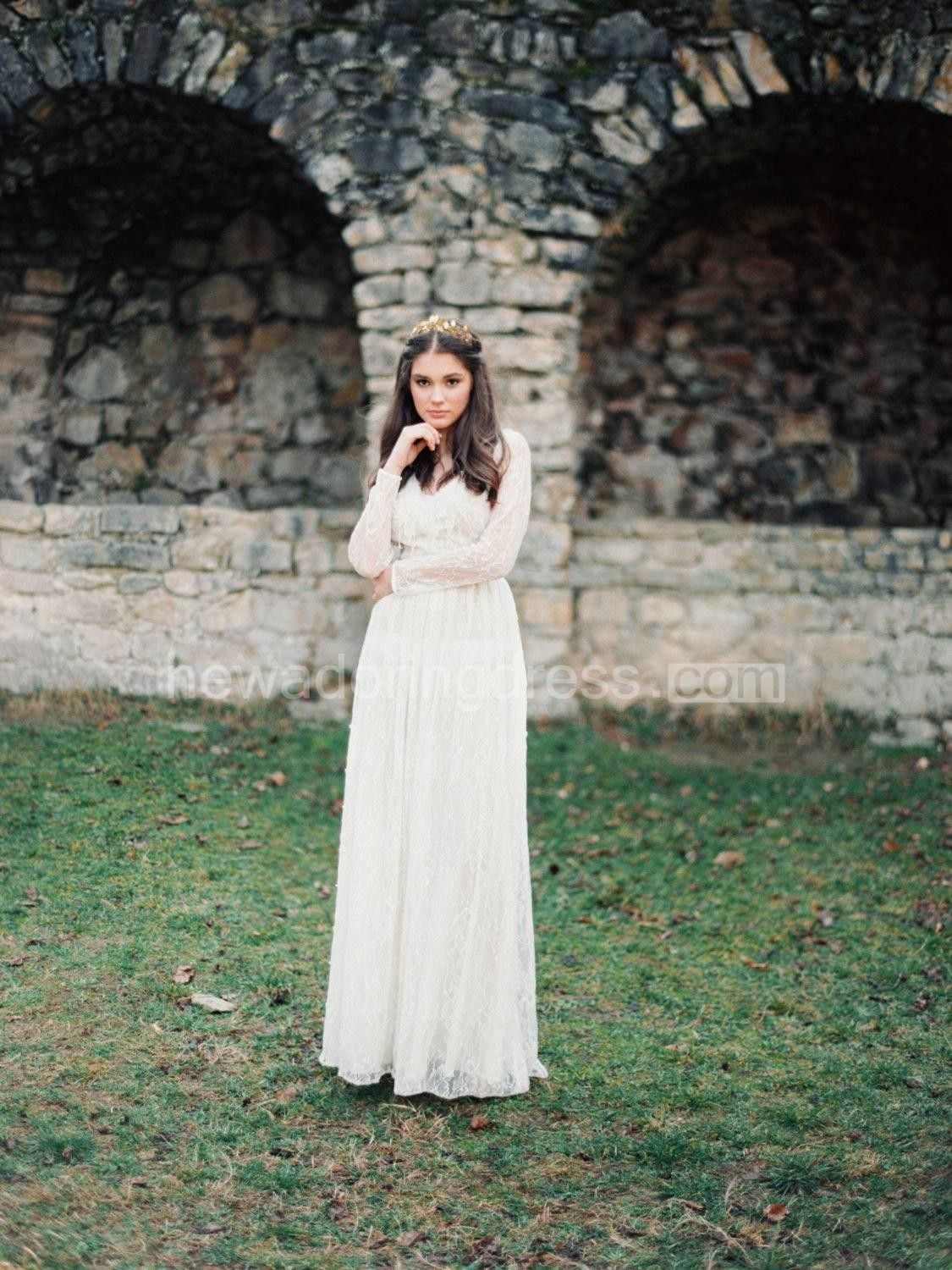 Boho noncorset lace wedding dress with long sleeves lace wedding
