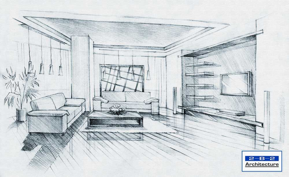 business interior sketch perspective drawing architectural sketches