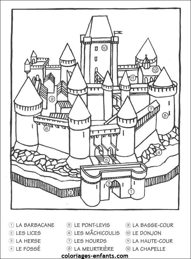 Un Chateau Fort A Colorier Chateau Pinterest Chateau Fort