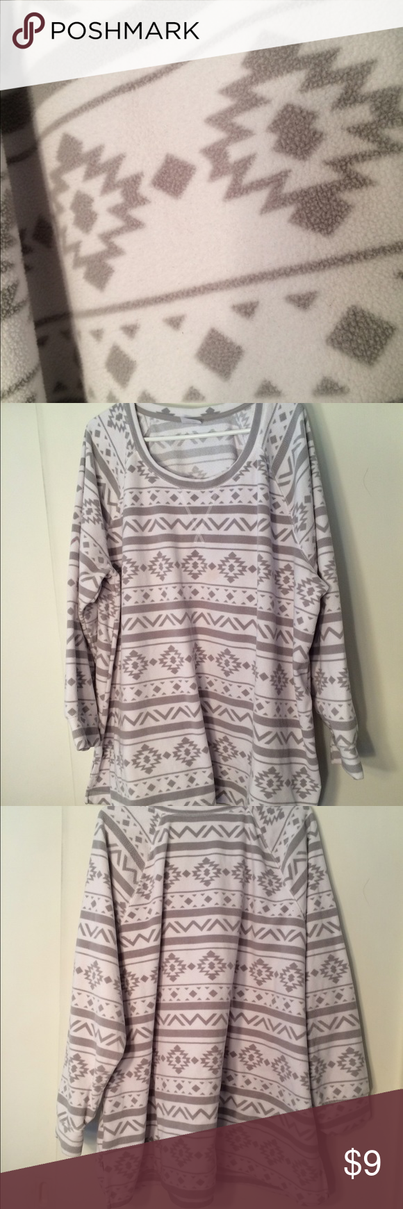 Plus size fleece top Excellent condition plus size fleece top and gray and white super soft and cozy Danskin Tops Sweatshirts & Hoodies
