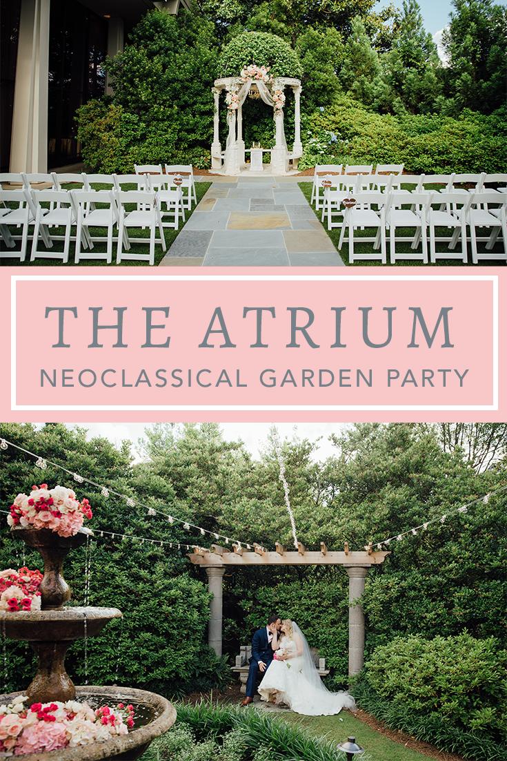 Neoclical Garden Party Feel At The Atrium Wedding Venue