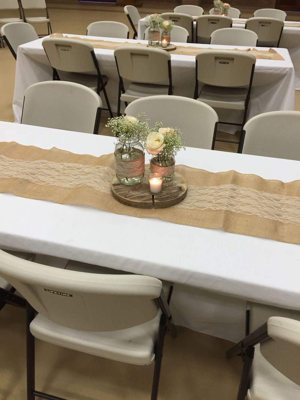 rustic bridal shower table centerpiece wedding shower