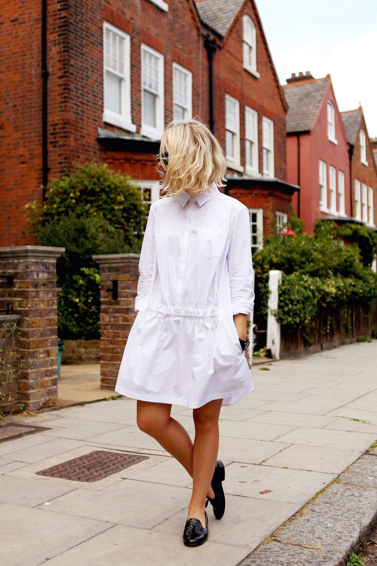 The white shirt is a big hit, and especially a shirt-dress here for summer with a pair of loafers.  This shirt: http://asos.to/V513Rx   with these loafers: http://asos.to/V51eMy   would be the perfect summer outfit!