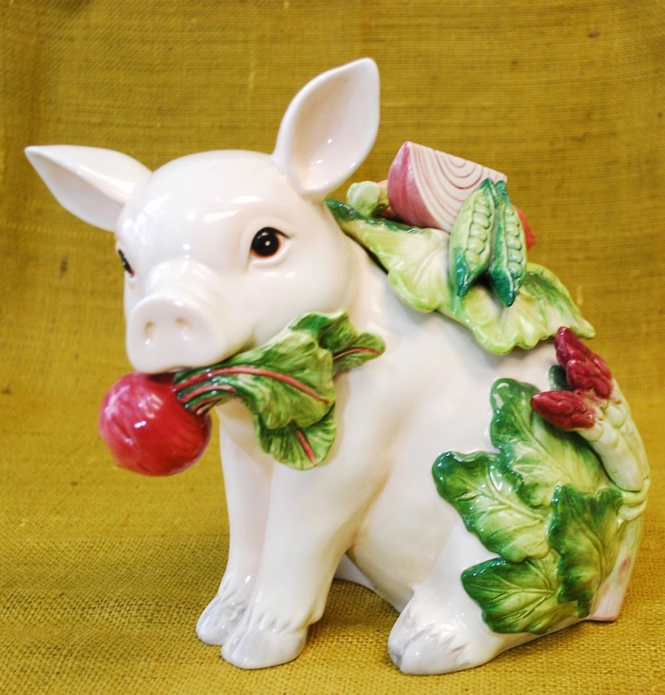 fitz and floyd french market pig figurine vegetables cookie jar