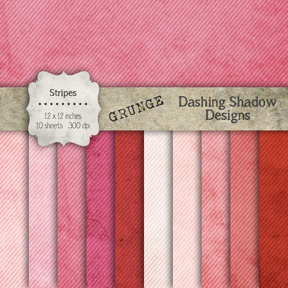 "Digital Paper Pack - Grunge Stripes in Pink Shades - 12 x 12"" Digital Scrapbook Paper #scrapbooking #scrapbook #paper #digiscrap #supplies #pages #grunge #vintage #stripes #pinstripe #pink #red #raspberry"