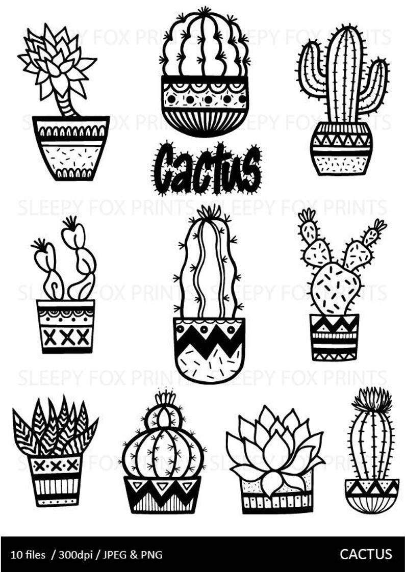 Cactus Clip Art Cactus Cute Cactushand Drawn Doodles Etsy In 2021 Cactus Drawing Clip Art Cactus