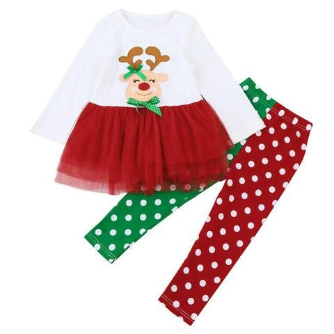 26e08bf0eaed2 Baby Clothes Girl Toddler Kids Baby Girl Deer Dot Princess Dress Tops Pants Christmas  Outfits Set Infant Clothing 1-6Years