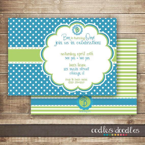 Blue And Green Boys Birthday Invitation 1st 2nd 3rd Polka Dots Monogram