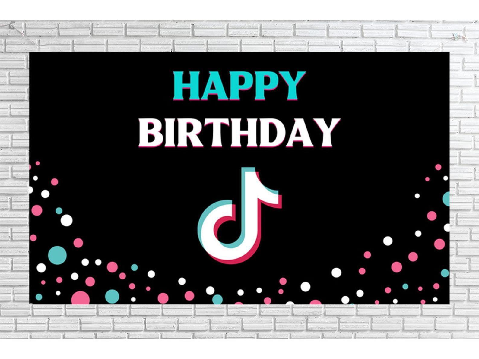 Tik Tok Birthday Party Decorations Tiktok Party Sign Happy Etsy In 2021 Birthday Party Decorations Party Signs Birthday Backdrop