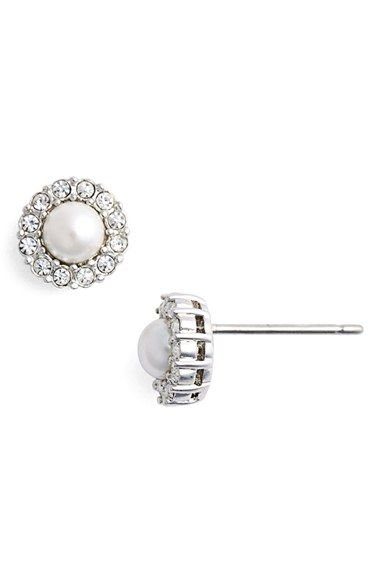 33b1ebe05 Nadri Pavé Halo Faux Pearl Stud Earrings available at #Nordstrom ...