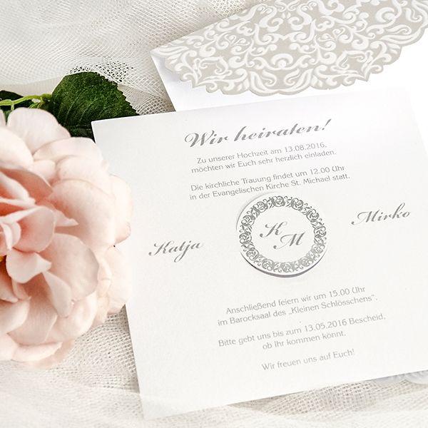 Elegante Hochzeitskarte Aus Silbern Schimmerndem Perlmuttpapier   Weddix.de