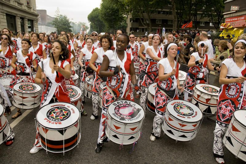 Batala performing at Notting Hill Carnival Batala Banda de Percussao performi